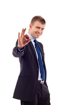 Businessman Making Ok Gesture Royalty Free Stock Image