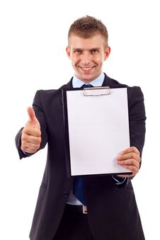 Free Man Presenting A Clipboard Stock Image - 14808981