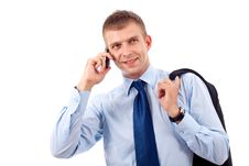 Free Young Businessman With Phone Royalty Free Stock Photo - 14809095