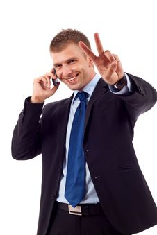 Free Man Making Victory Sign Royalty Free Stock Photos - 14809128