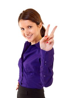 Free Woman Making Victory Sign Stock Photography - 14809192