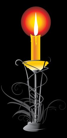 Free Burning Yellow Candle In The Candlestick Royalty Free Stock Images - 14810029