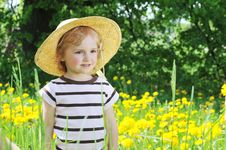 Free Girl In  Blossoming Field Royalty Free Stock Photo - 14810635