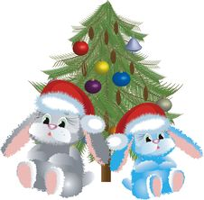 Free Two Santa-hares Stock Photography - 14810722