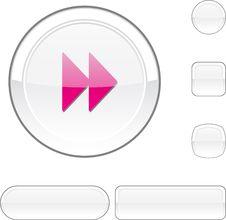 Forward White Button. Royalty Free Stock Image