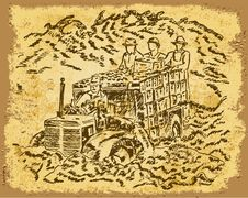 Free Harvesting - Vintage Drawing Stock Image - 14812581