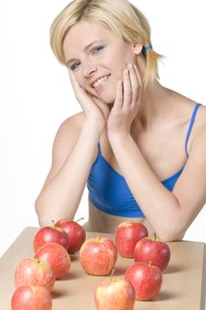Free Woman With Apples Stock Images - 14812654