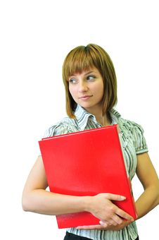 Free Woman With A Red Folder Stock Photos - 14815873