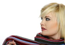 Colorful Scarf On A Blond Royalty Free Stock Image