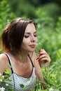Free Girl Smell A Flower Royalty Free Stock Photo - 14832605