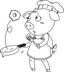 A Pig As A Chef Royalty Free Stock Photos