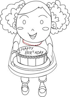 A Girl With A Birthday Cake Royalty Free Stock Photography