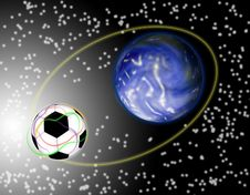 Football In Space Stock Image