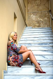 Free Young Beautiful Summer Woman Sitting On Stairs Stock Photography - 14833072