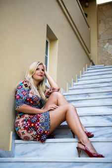 Free Young Beautiful Summer Woman Sitting On Stairs Royalty Free Stock Image - 14833096