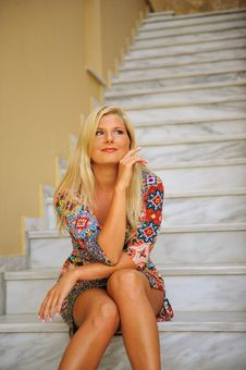Free Young Beautiful Summer Woman Sitting On Stairs Royalty Free Stock Photography - 14833137