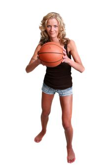 Free Female Basketball Player Isolated On White Royalty Free Stock Image - 14833286