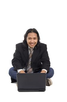 Free Long Hair Man Working With Laptop Stock Images - 14833434