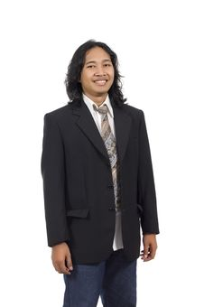 Free Long Hair Man Wearing Suit Stock Images - 14833444