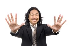 Free Long Hair Man Give Number Ten By Hand Gesture Stock Photography - 14833452