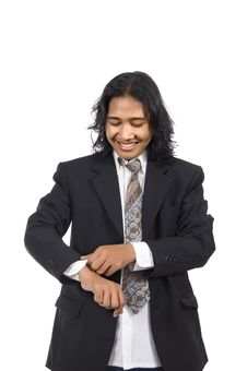 Free Long Hair Man Wearing Suit Stock Image - 14833461
