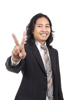 Long Hair Man Give Number Two By Hand Gesture Royalty Free Stock Photo