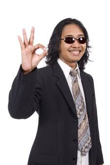 Free Long Hair Man In Business Suit Give Ok Sign Stock Image - 14833481