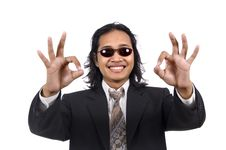 Free Long Hair Man In Business Suit Give Ok Sign Royalty Free Stock Photo - 14833515