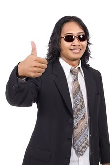 Free Long Hair Man In Business Suit Give Ok Sign Royalty Free Stock Photography - 14833517