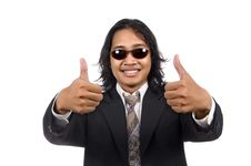 Free Long Hair Man In Business Suit Give Ok Sign Royalty Free Stock Images - 14833519