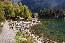 Sant Maurici Lake - Pyrenees. Stock Photo