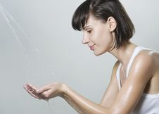 Woman Washing Her Face Royalty Free Stock Image