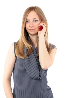 Free Young Woman With Long Blond Hair Talking On Phone Royalty Free Stock Images - 14835659