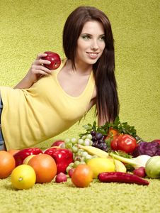 Free Woman With  Fruits Stock Images - 14836134