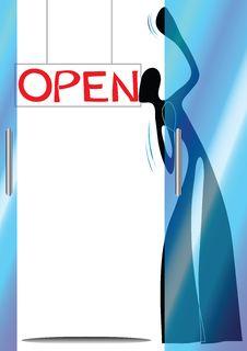 Free Shadow Man Cartoon Opening Shop Royalty Free Stock Image - 14836166