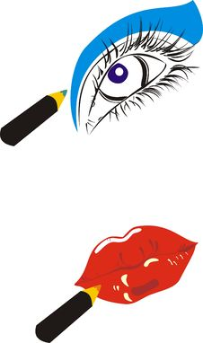 Stilyzed Vector Romantic Eye And Lips Royalty Free Stock Photography