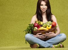 Free Woman With  Fruits Royalty Free Stock Photos - 14836438