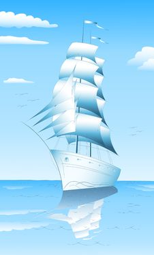 Sailing Ship In Sea Stock Photos