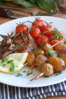 Free Steak With Potatoes Stock Photos - 14836773