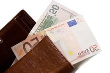Fifty Dollar And Euro Banknotes Stock Image