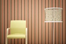 Free Chair, Lamp And Striped Wallpaper Royalty Free Stock Image - 14837366