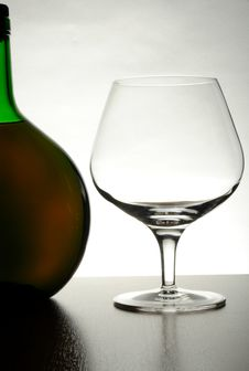 Cognac Bottle And Glass Royalty Free Stock Photo