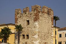 Bardolino, Old Town With An Old Tower, Italy Royalty Free Stock Images