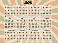 Free 2011 Full Year Transparent Swirl Calendar Royalty Free Stock Images - 14839119