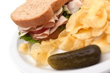 Free Turkey Sandwich With Potato Chips Stock Image - 14839151