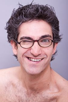 Free Goofy Looking Young Man In Eyeglasses Stock Photography - 14839432