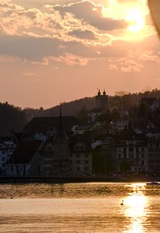 Sunset Over Lucerne Royalty Free Stock Images