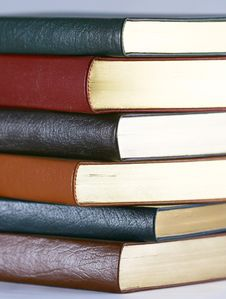 A Set Of Six Leather Bound Books Royalty Free Stock Images