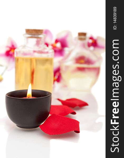 Spa items on white background