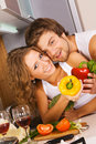 Free Young Romantic Couple In The Kitchen Stock Images - 14840444